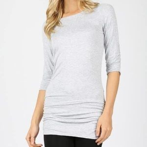 Shirring Sleeve & Side Tunic Top